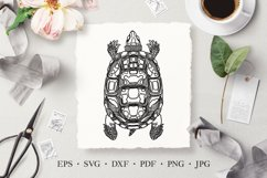 Turtle Vector Line Art Illustration SVG, Laser Cut Template Product Image 1