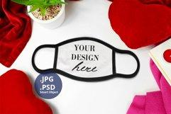 Black Edge Face Mask Mockup Valentine's Day Full wrap PSD Product Image 3