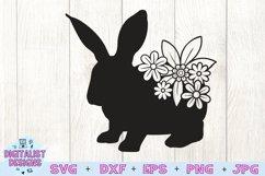 Easter Bunny SVG   Flower SVG  Rabbit SVG Product Image 3