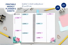 Undated weekly planner's sheets with watercolor flower A5 Product Image 1