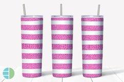 Skinny Tumbler Sublimation Design Pink Animal Print Glitter Product Image 6