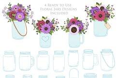 Purple Mason Jar Floral Purple Wedding Clipart Product Image 4