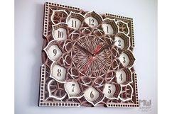 C09 - Wall Clock for Laser cut, Mandala Clock DXF pattern Product Image 3