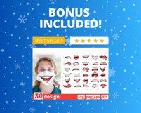 Christmas Face Mask SVG Bundle, funny mouth cricut pattern Product Image 5