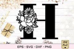 Floral letter H svg, Flower H monogram font initial SVG Product Image 1