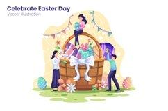 Happy Easter Day Celebration concept flat illustration Product Image 1