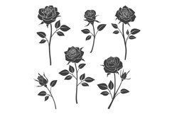 Rose buds vector silhouettes. Flowers design elements Product Image 1