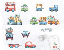 Watercolor Christmas clipart. Christmas cars and trucks Product Image 2