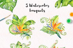Tropical leaves Watercolor clipart Product Image 4