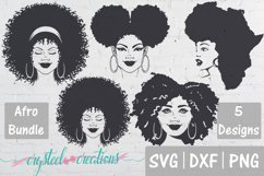 Afro Bundle 5 Different files SVG, DXF, PNG, Afro svg Product Image 1
