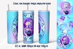 Design of zodiac sign Aquarius. Skinny tumbler wrap design. Product Image 1