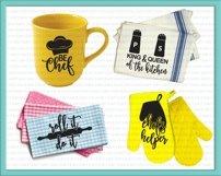 Bundle kitchen sayings towel designs svg dxg cutting files Product Image 2