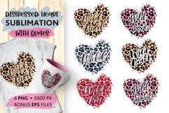 Leopard Hearts Sublimation, quotes Wild Heart Love Wild Free Product Image 1