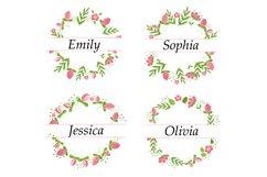 Monogram Flower Bundle. Floral Monogram Frame. Pink Flowers Product Image 2