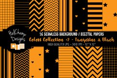16 seamless Digital Papers - Tangerine and Black - HC156 Product Image 1