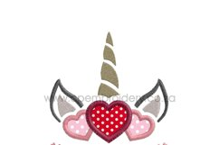 Unicorn Head Valentine's Hearts Applique Embroidery Design Product Image 6