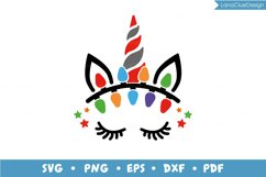 Unicorn Face with Christmas Lights SVG PNG DXF EPS PDF Product Image 2
