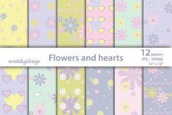 Pastel purple flowers and hearts scrapbook paper Product Image 1