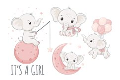 Baby shower clipart, PNG, EPS, JPG, Cute elephants Product Image 1