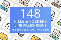 148 Files & Folders Filled Line Icons Product Image 1