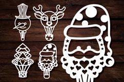 Papercut Christmas Air Balloons, Santa, Tree, Snowman Vector Product Image 3