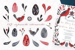 Lovebirds folk art bird illustrated collection Product Image 3