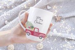 Farm fresh christmas trees, Red old farm car clipart Product Image 6