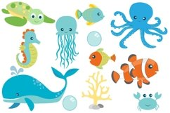 Sea Animal Clipart and Digital Papers Set Product Image 2