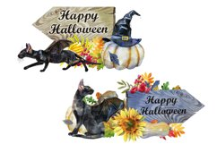 Black cats with wings and pumpkins Product Image 3