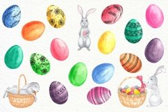 Watercolor easter rabbits and colourfull eggs. Clip art set Product Image 2