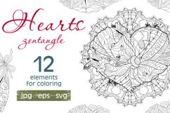 Hearts zentangle for coloring pages Product Image 1