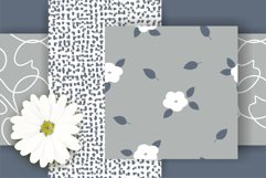 White and Yellow Simple Floral Vector Seamless Patterns Product Image 4