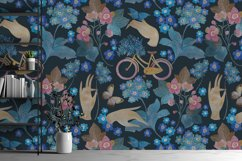 Pattern with bicycle and flowers Product Image 5
