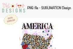 Sublimation US map animal print | red white and blue glitter Product Image 2