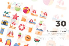 Set of 30 Summer icon come with flat design Product Image 1