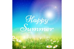Spring and summer vector background with green grass and bri Product Image 1