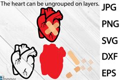 Patched Heart Design - Clip art / Cutting Files 1344c Product Image 2