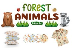 Watercolor Forest Animal Pattern Set Product Image 1