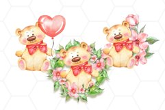 Watercolor Teddy cards png Product Image 1