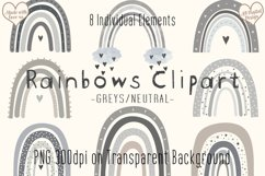 Grey/Neutral Rainbow Clipart, Boho Scandi Baby Nursery PNG Product Image 1