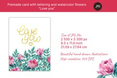 """Premade card """"love you"""" with watercolor flowers. JPG Product Image 2"""