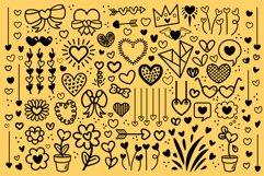 Cartoon Doodle Heart Clip Art Set Product Image 4