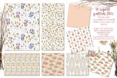 Cute owls clipart. Watercolor collection with floral forest Product Image 10