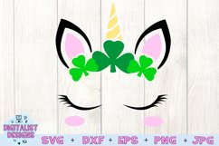 unicorn face svg, unicorn svg, st patricks svg, unicorn head Product Image 3