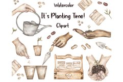 Watercolor Planting time, Gardening Clipart Product Image 1