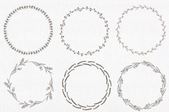 30 Hand drawn floral wreath. Simple line drawing. Product Image 5
