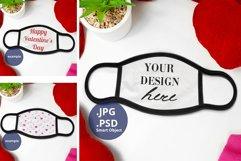 Black Edge Face Mask Mockup Valentine's Day Full wrap PSD Product Image 1