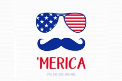 Merica SVG, Fourth of July SVG, 4th of July sunglasses mustache Svg, Patriotic SVG, America Svg, Cricut, Silhouette Cut File, svg dxf eps Product Image 1