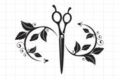 Hairdresser SVG Cut File, Beauty salon scissors logo. Product Image 1