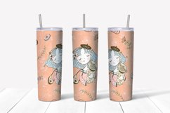 Girl with dog sublimation design. Skinny tumbler png Product Image 3